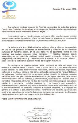 SALUDO DE LA PRESIDENTA DE MUDCA POR EL DIA INTERNACIONAL DE LA MUJER
