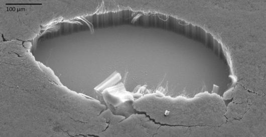 Corte donde se muestran las hileras de nanotubos